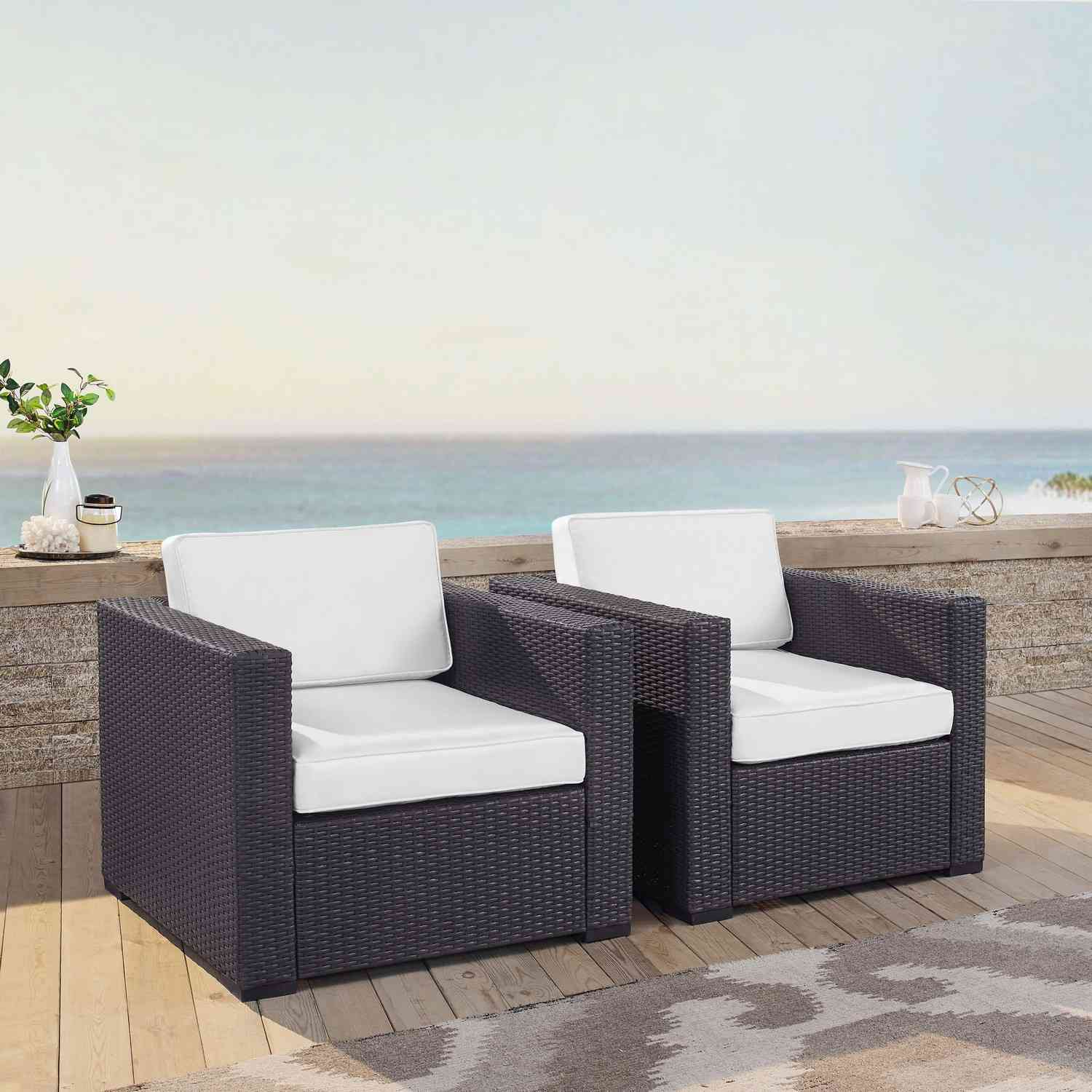 Crosley Biscayne Outdoor Wicker Chair - Set of 2 - White/Brown