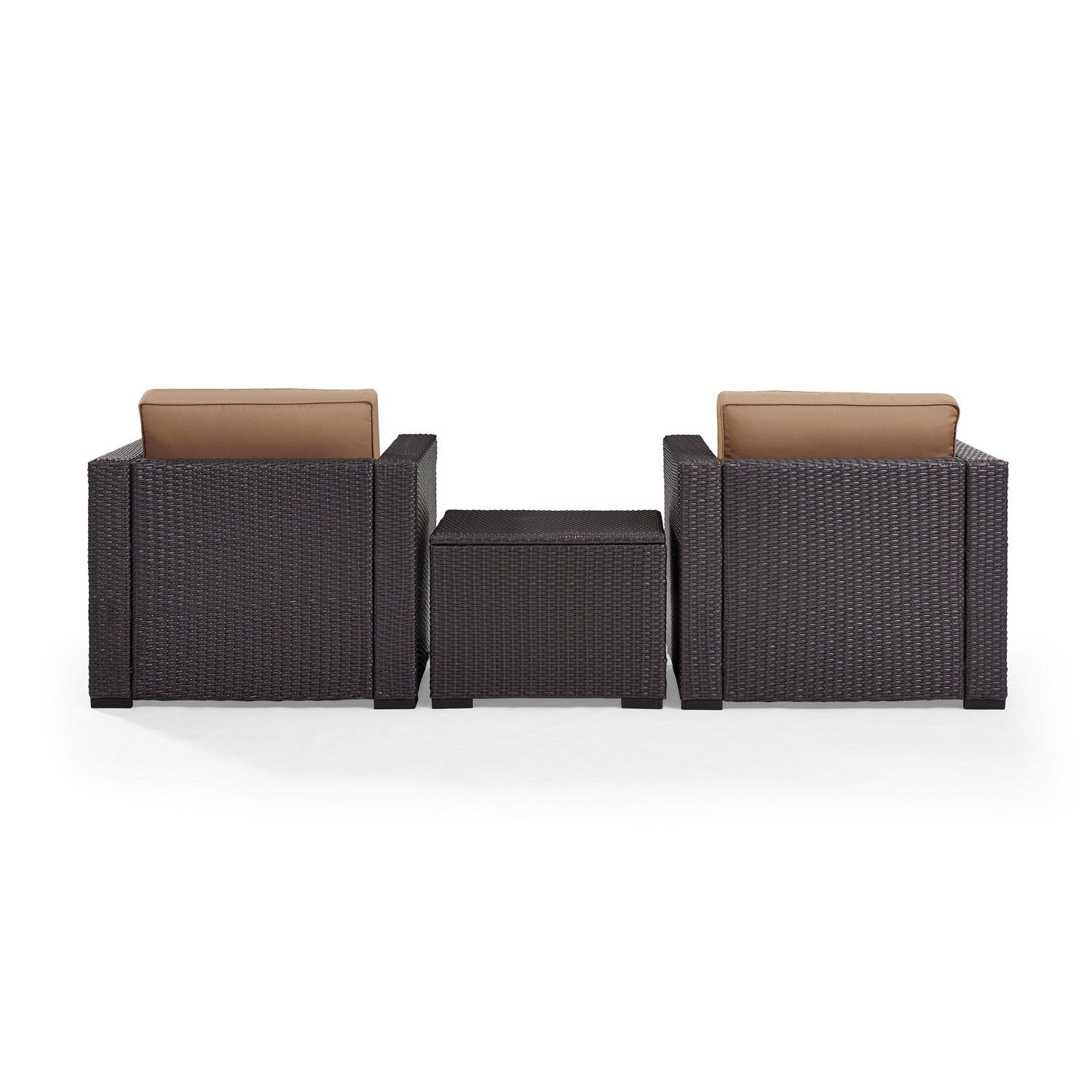 Crosley Biscayne 3-PC Outdoor Wicker Chair Set - Coffee Table and 2 Chairs - Mocha/Brown