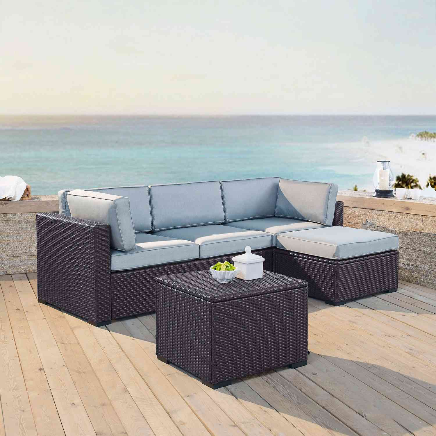 Crosley Biscayne 4-PC Outdoor Wicker Sectional Set - Loveseat, Corner Chair, Ottoman, Coffee Table - Mist/Brown