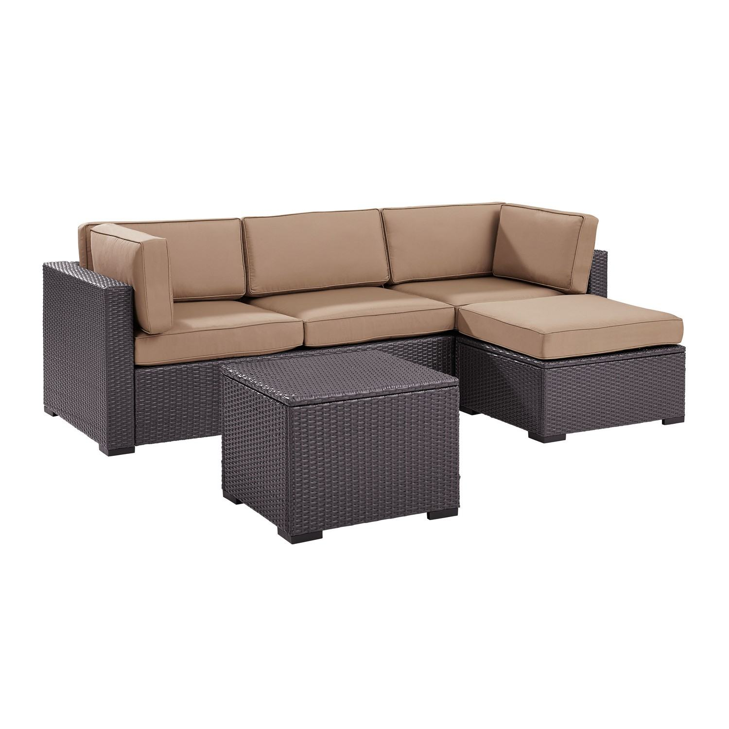 Crosley Biscayne 4-PC Outdoor Wicker Sectional Set - Loveseat, Corner Chair, Ottoman, Coffee Table - Mocha/Brown