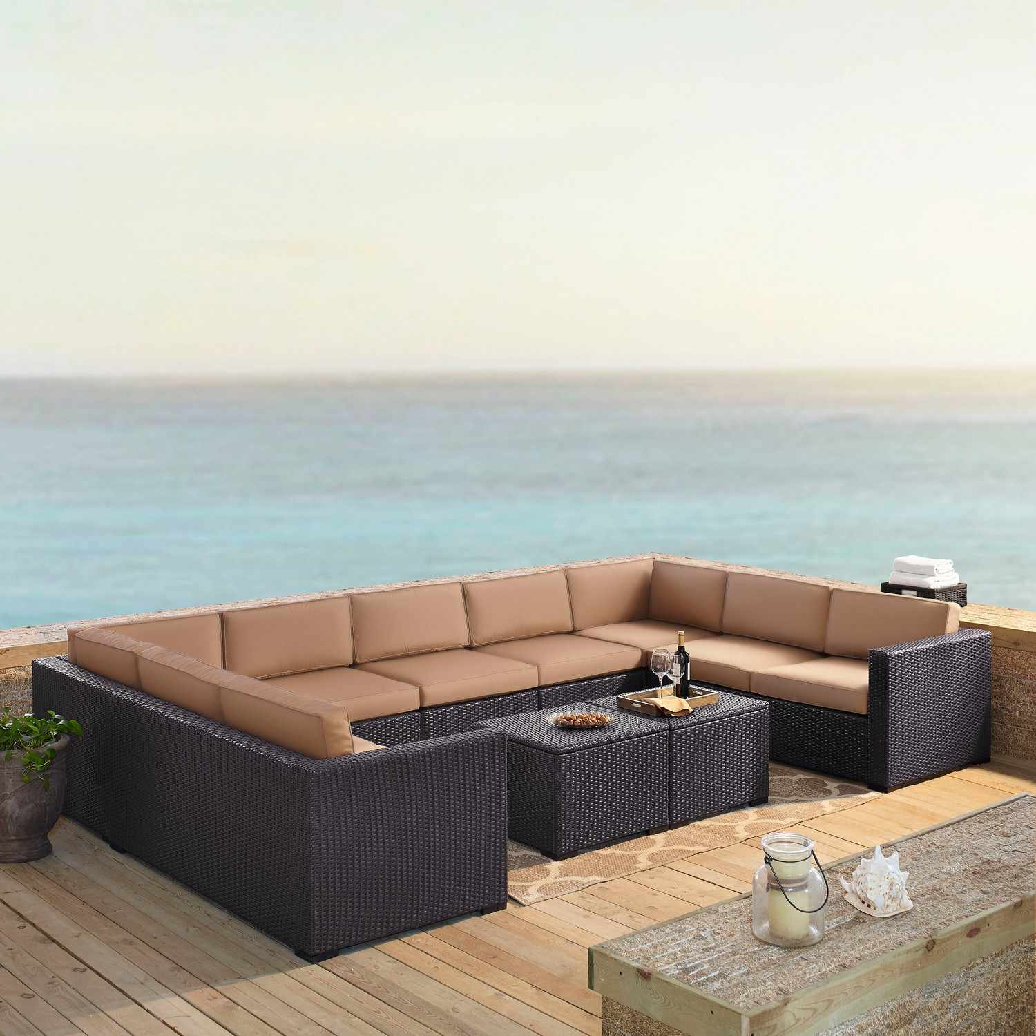 Crosley Biscayne 7-PC Outdoor Wicker Sectional Set - 4 Loveseats, Armless Chair, 2 Coffee Tables - Mocha/Brown