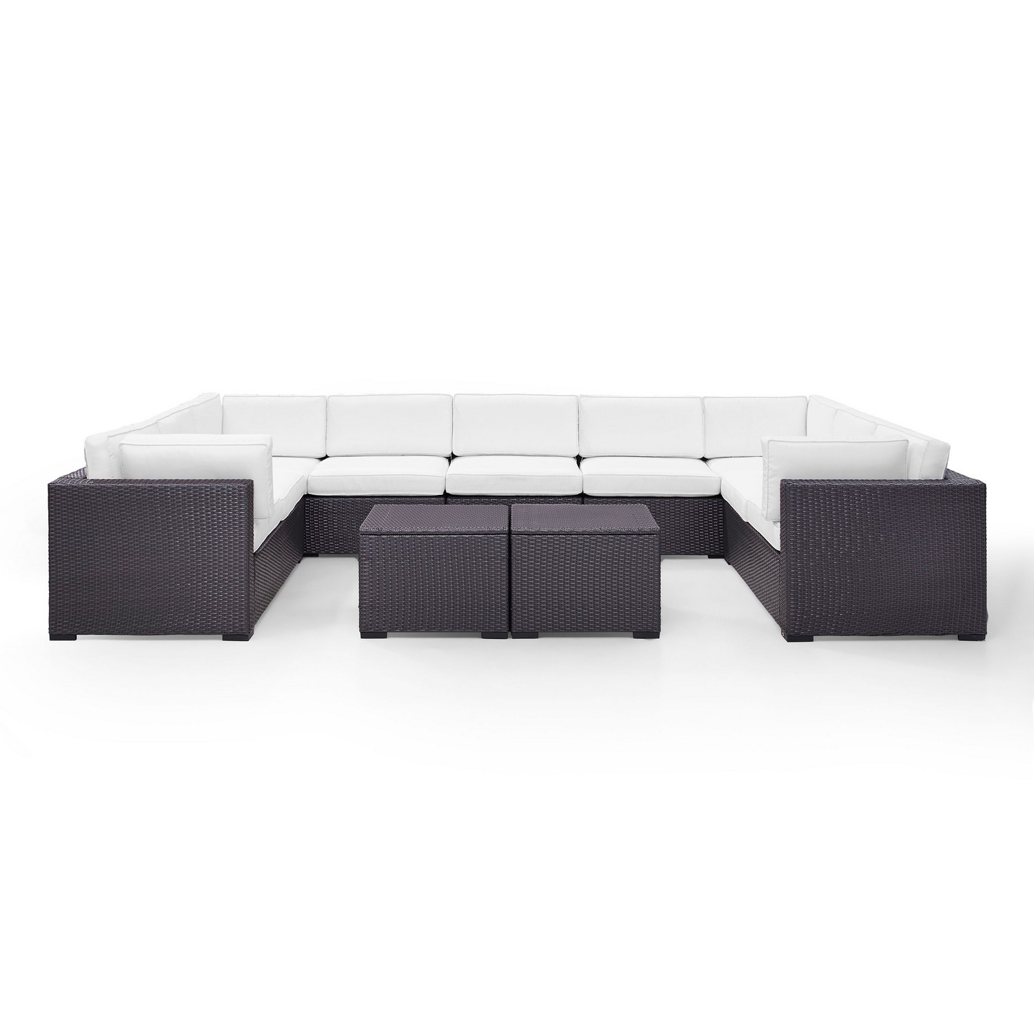 Crosley Biscayne 7-PC Outdoor Wicker Sectional Set - 4 Loveseats, Armless Chair, 2 Coffee Tables - White/Brown