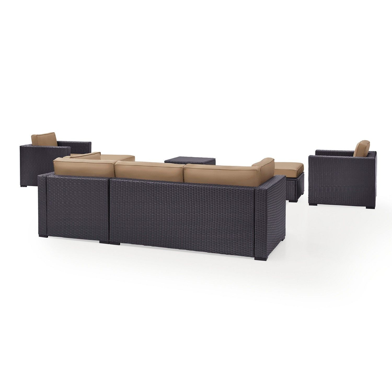 Crosley Biscayne 7-PC Outdoor Wicker Sectional Set - Loveseat, 2 Arm Chairs, Corner Chair, Coffee Table, 2 Ottomans - Mocha/Brown