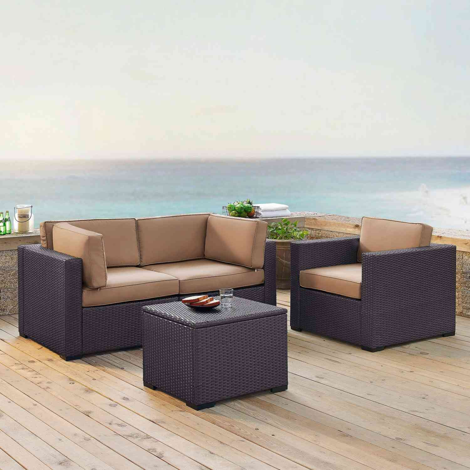 Crosley Biscayne 4-PC Outdoor Wicker Sectional Set - 2 Corner Chairs, Arm Chair, Coffee Table - Mocha/Brown