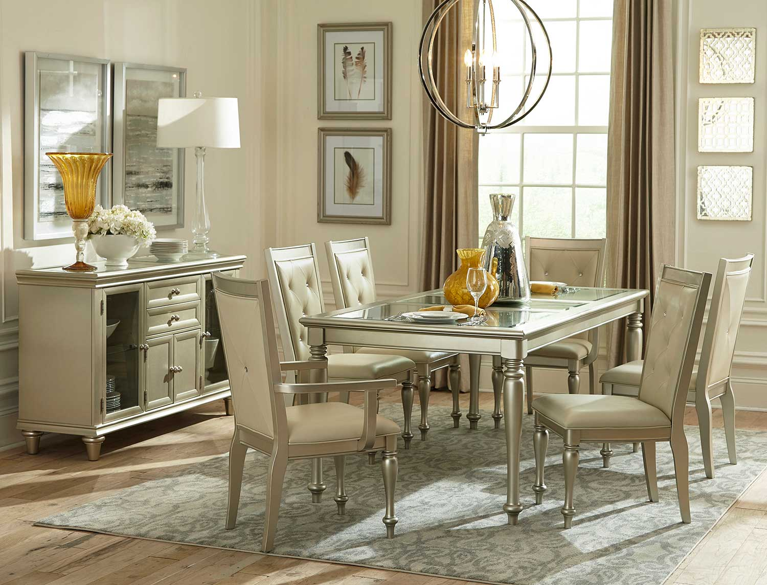 Homelegance Celandine Dining Set - Glass Insert - Silver