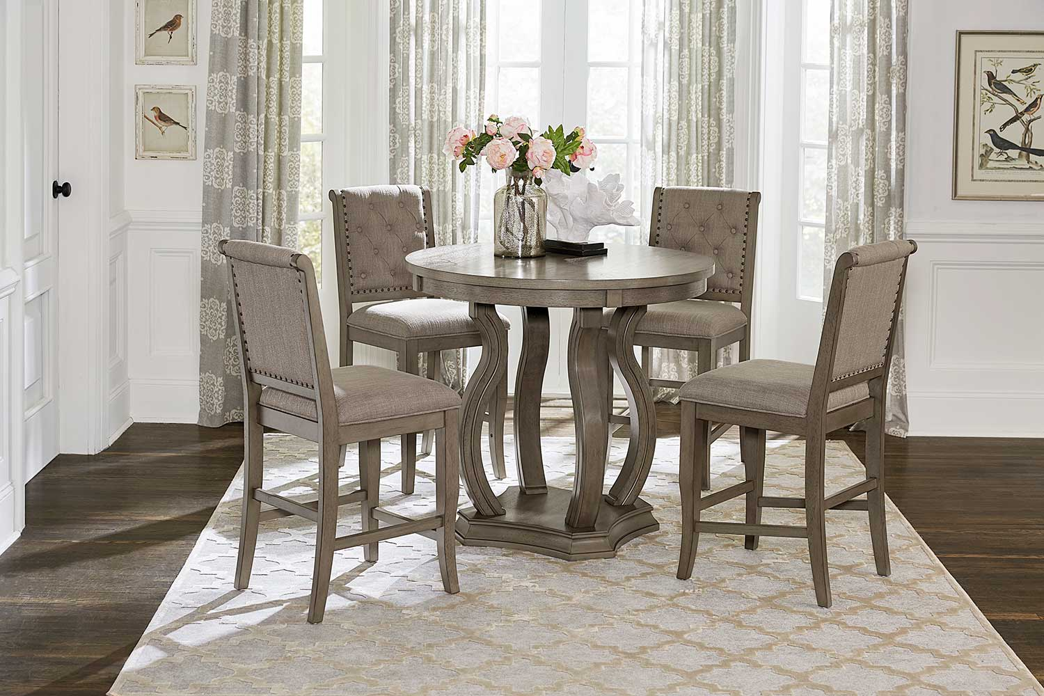 Homelegance Vermillion Counter Height Dining Set - Bisque