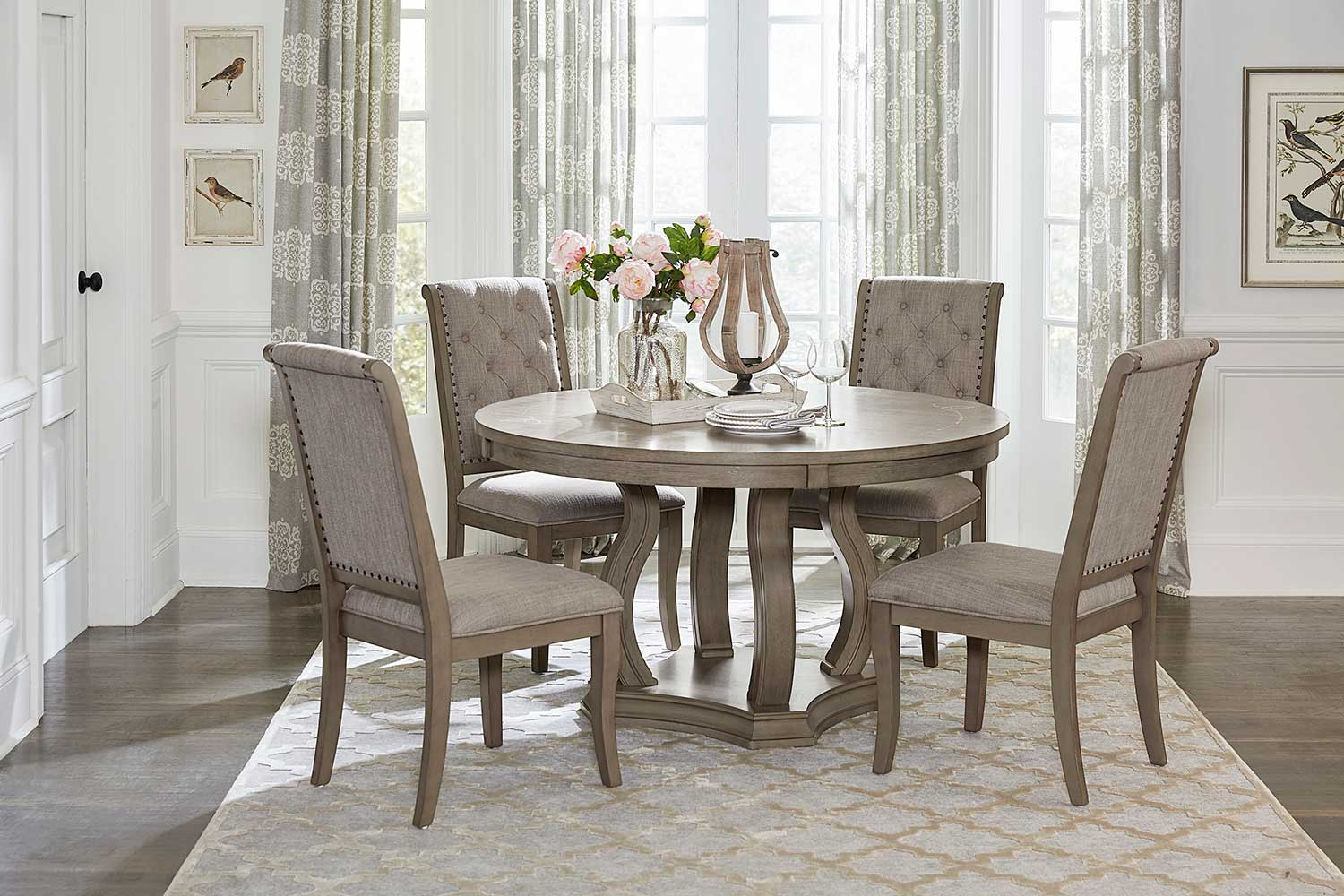 Homelegance Vermillion Round Dining Set - Bisque