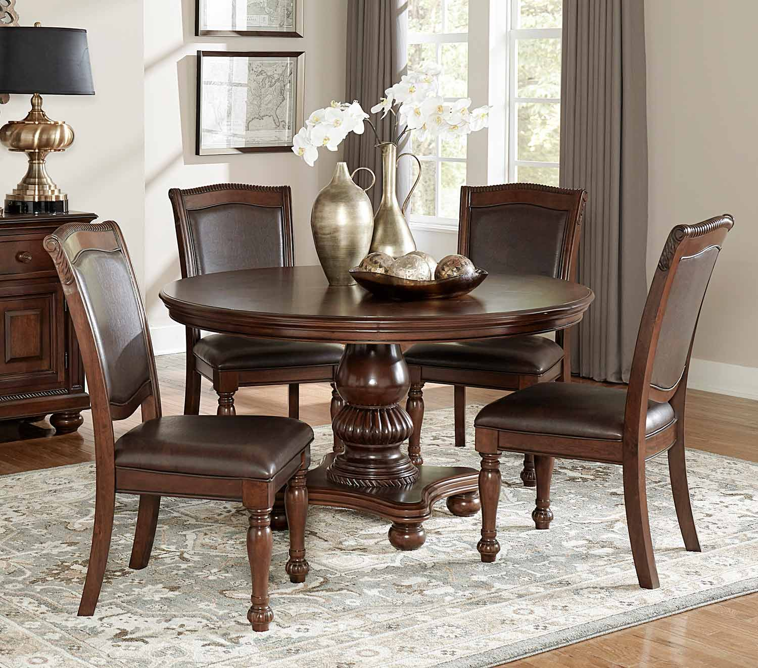 Homelegance Lordsburg Round Dining Set - Brown Cherry