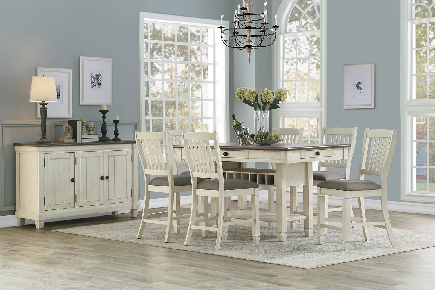 Homelegance Granby Counter Height Dining Set - Antique White - Rosy Brown