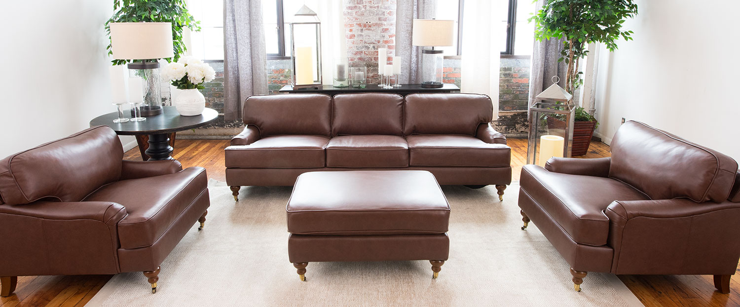 Elements Fine Home Furnishings Athens 4 Piece Top Grain Leather Sofa Set Ath 4pc S Sc Sc So Bour