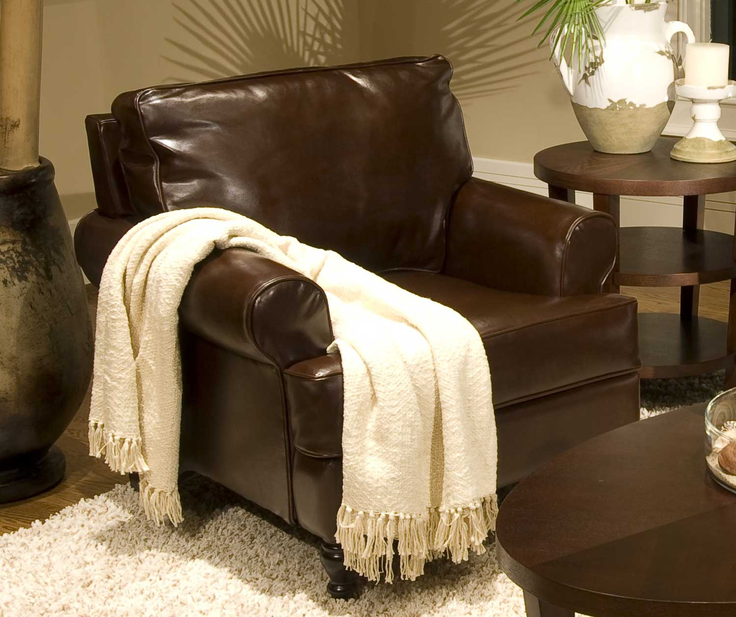 ELEMENTS Fine Home Furnishings Braxton Bicast Leather Club Chair - Coffee Bean
