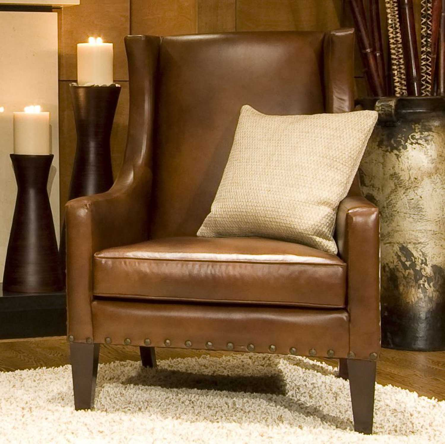 ELEMENTS Fine Home Furnishings Bristol Top Grain Leather Accent Chair - Rustic