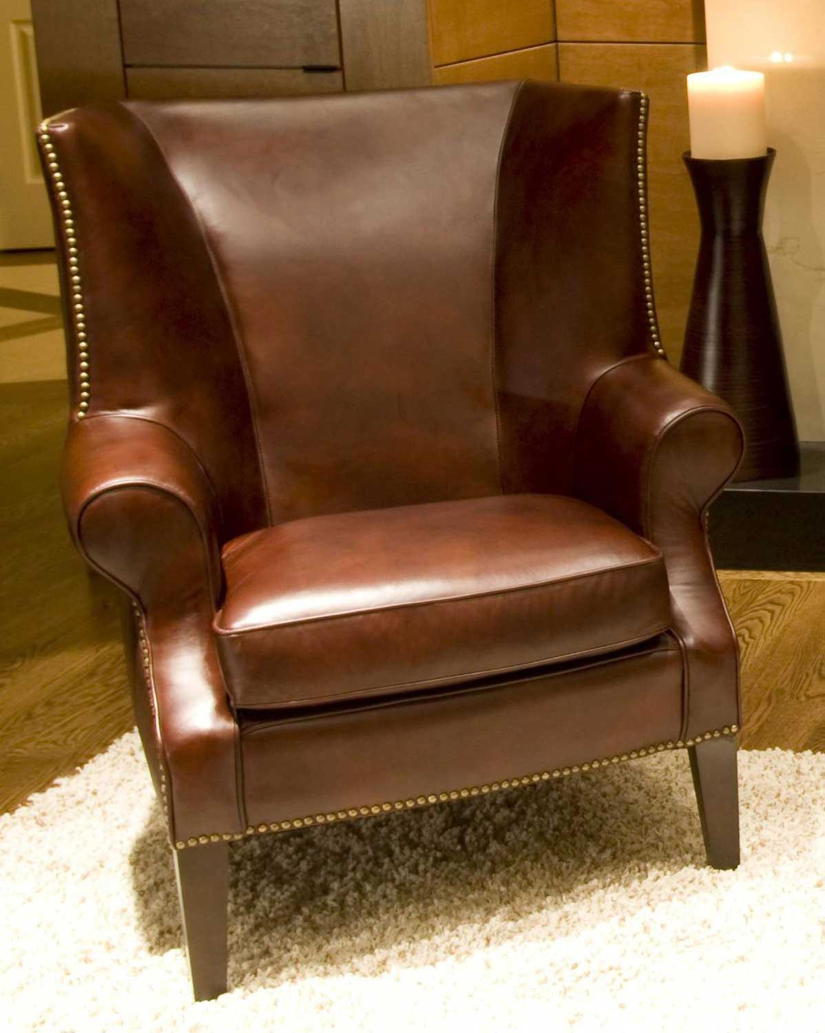 ELEMENTS Fine Home Furnishings Camden Top Grain Leather Accent Chair - Raisin