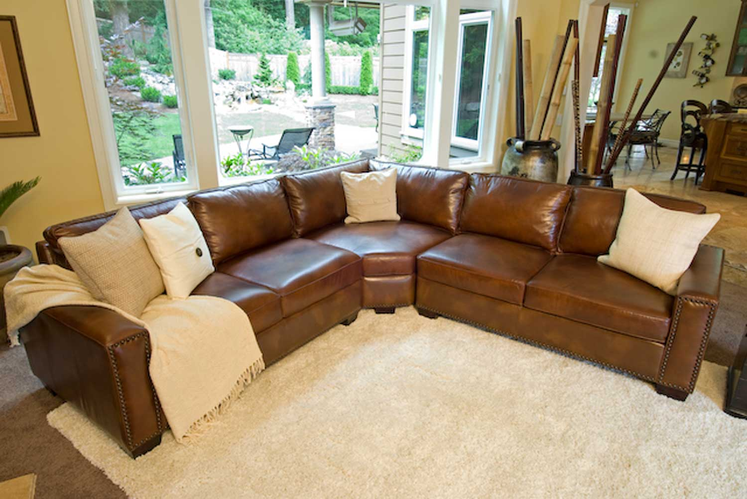 ELEMENTS Fine Home Furnishings Carlyle Top Grain Leather Sectional Sofa - Rustic