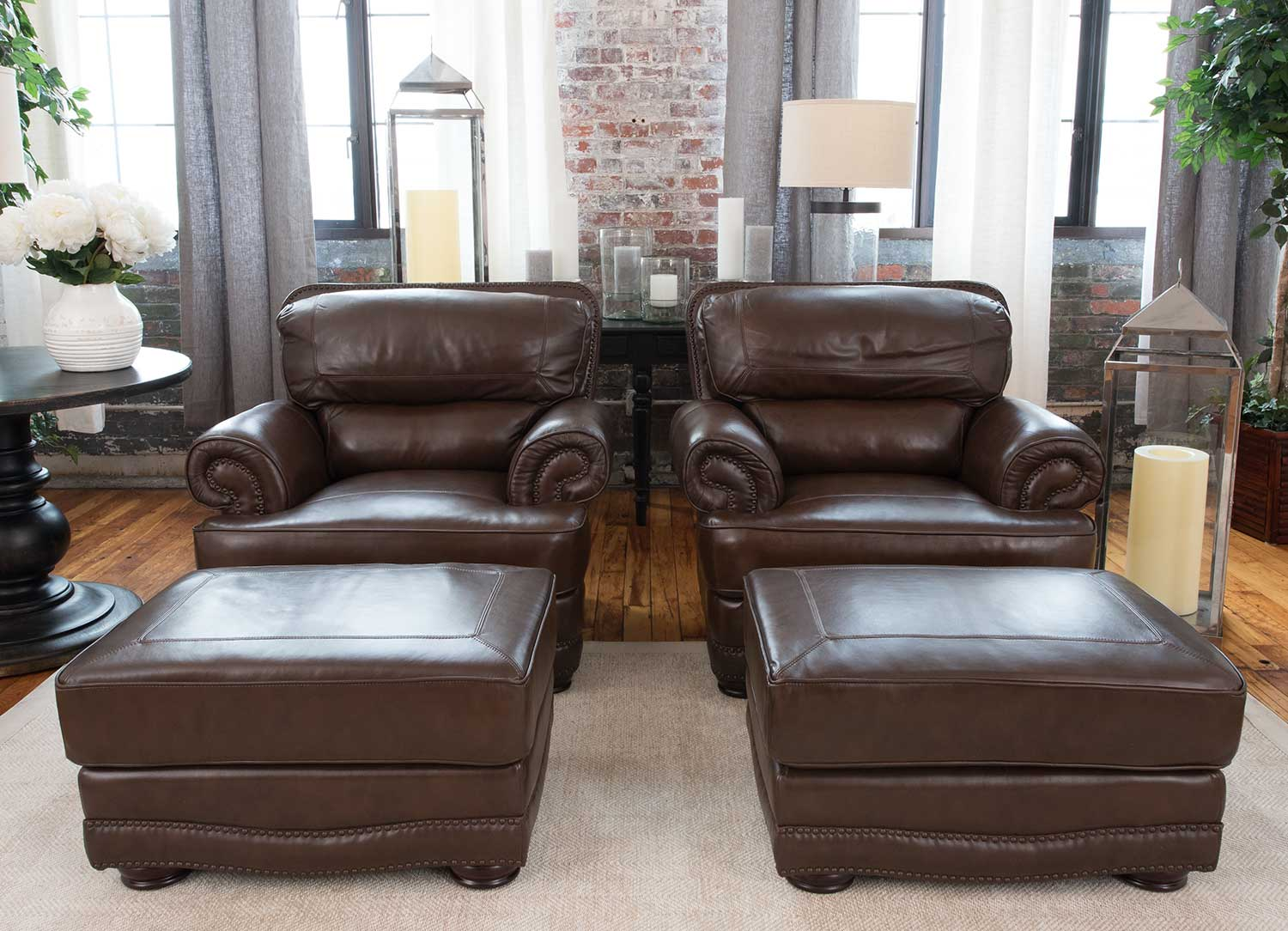 Elements Fine Home Furnishings Charleston 4 Piece Top Grain  ~ Sectional Sofa Charleston Sc