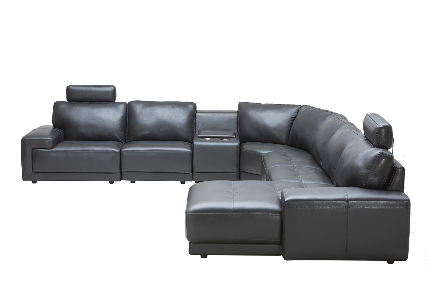 ELEMENTS Fine Home Furnishings Cinema LAF Sectional Sofa With Console  Storage Table   Black