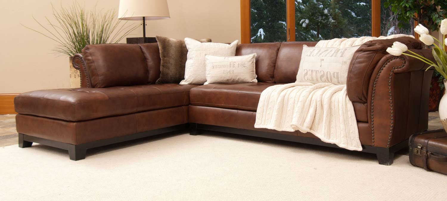 Corsario Top Grain Leather Sectional Sofa   Bourbon
