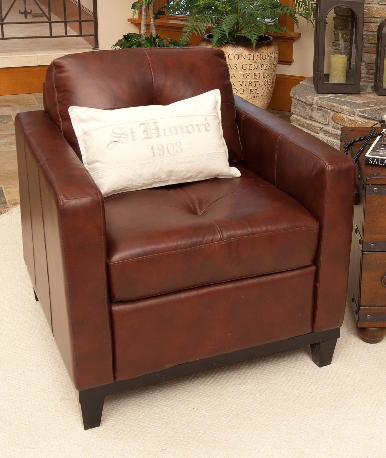ELEMENTS Fine Home Furnishings Carlton Top Grain Leather Accent Chair - Raisin