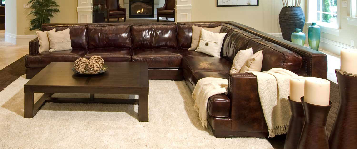ELEMENTS Fine Home Furnishings Easton Top Grain Leather Sectional Sofa    Saddle