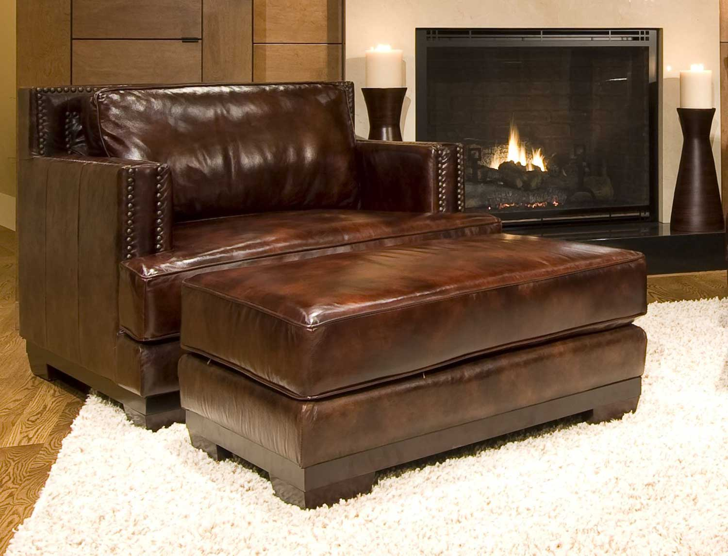 Lovable ELEMENTS Fine Home Furnishings EME PC SC SO SADD Emerson Set Top Grain Leather Accent Chai Product Photo