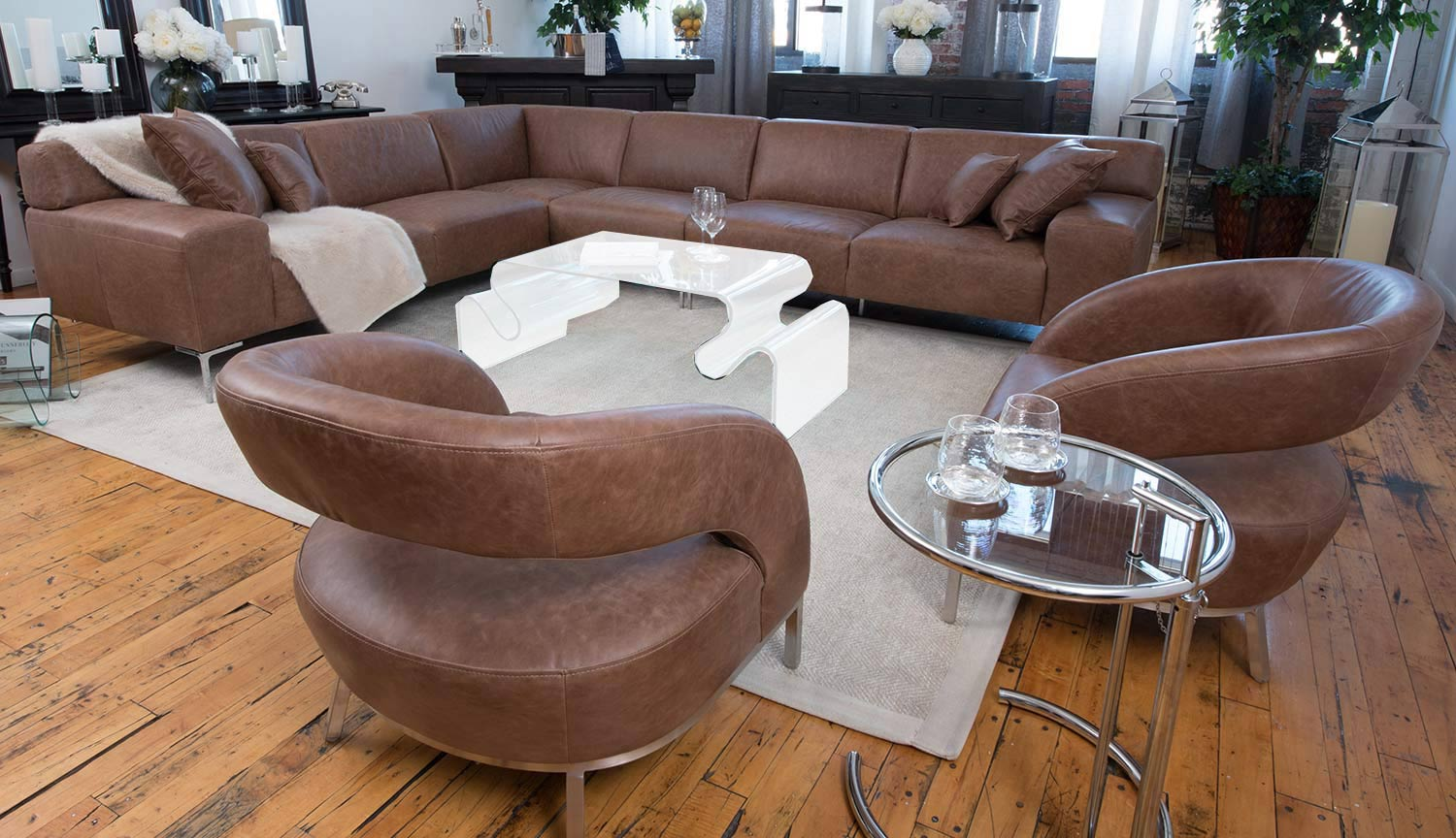 elements fine home furnishings industrial 3piece sectional sofa with 2 mod deco chairs chestnut - 3 Piece Sectional Sofa