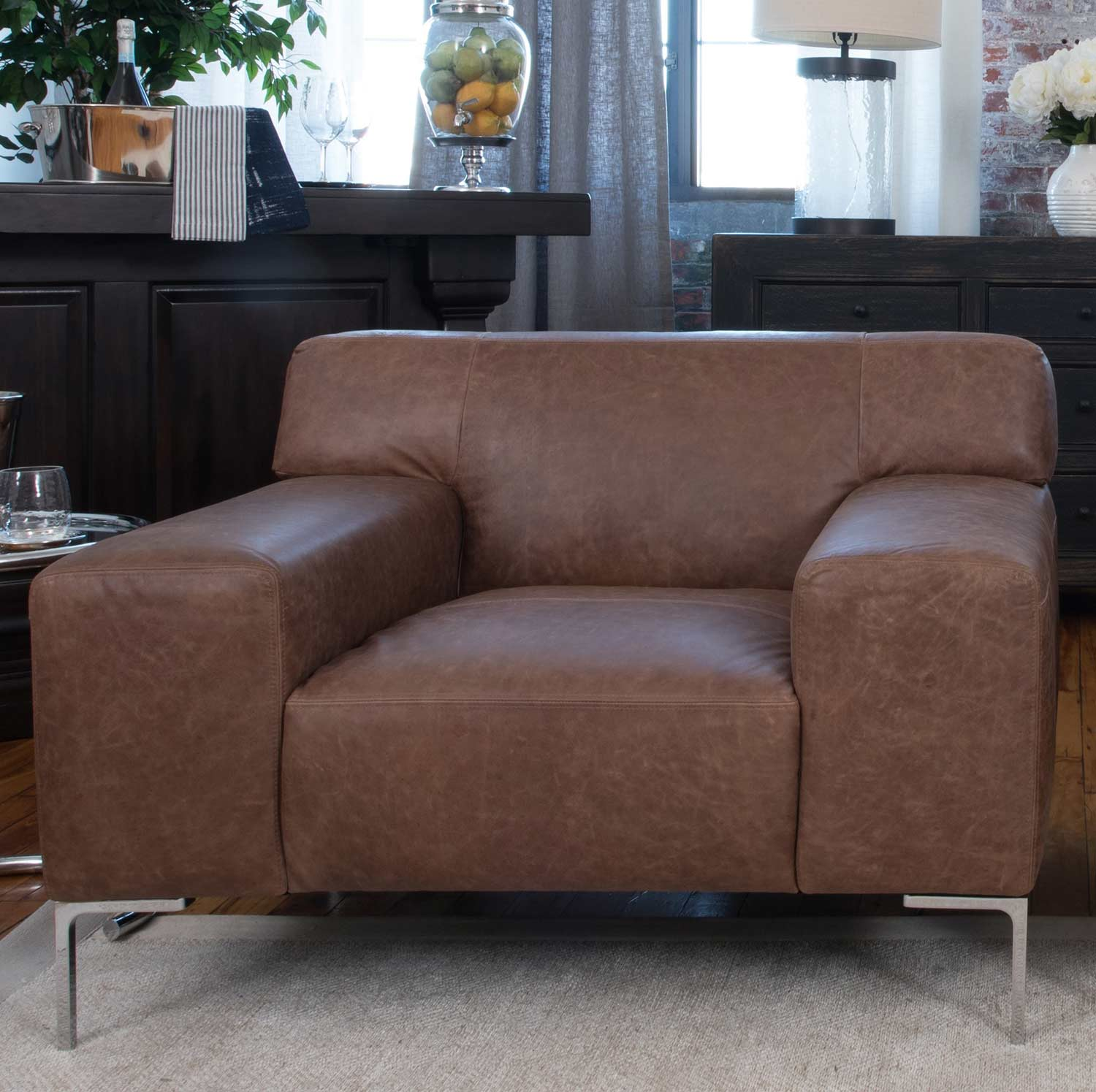 ELEMENTS Fine Home Furnishings Industrial Top Grain Leather Chair