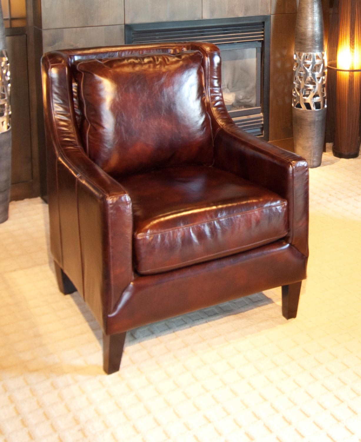 Learn more about ELEMENTS Fine Home Furnishings JAV SC SADD Java Top Grain Leather Accent Chair Saddle Product Photo
