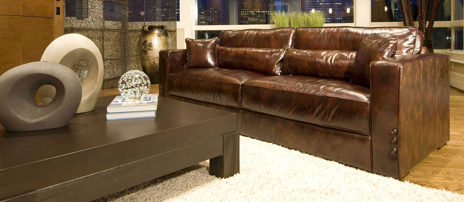 ELEMENTS Fine Home Furnishings Laguna Top Grain Leather Sofa   Saddle