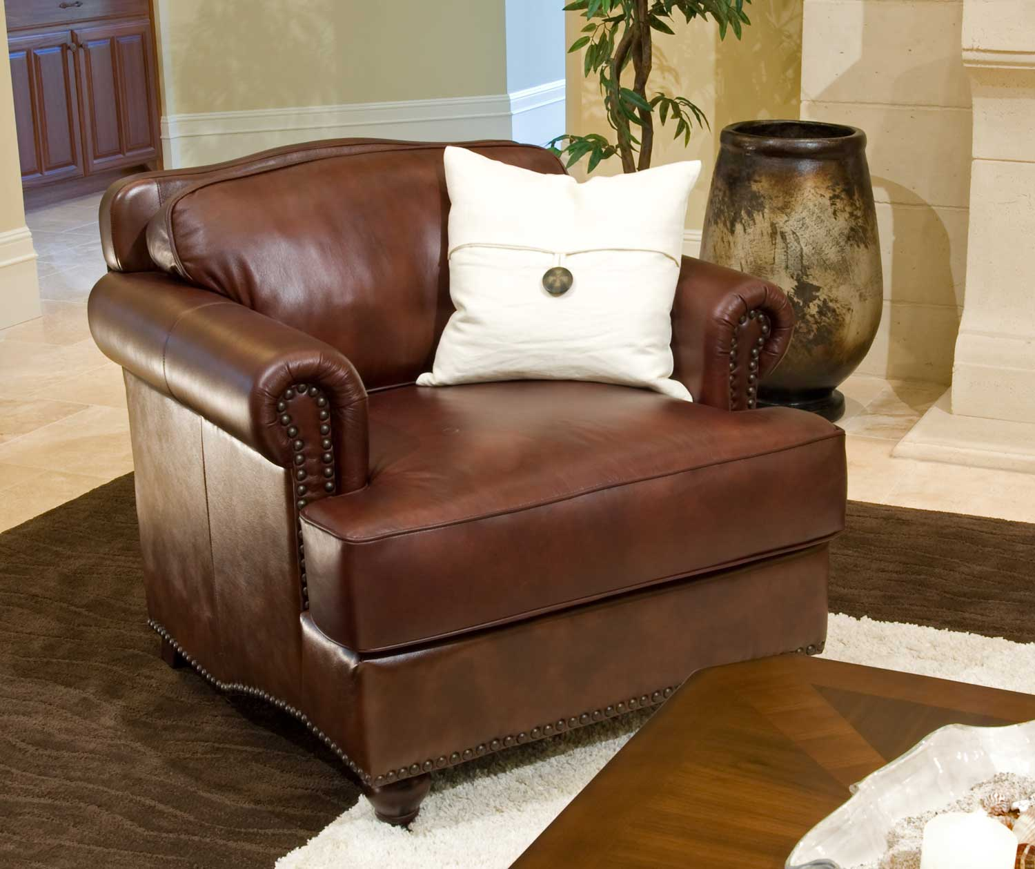 ELEMENTS Fine Home Furnishings Mansfield Top Grain Leather Standard Chair - Raisin