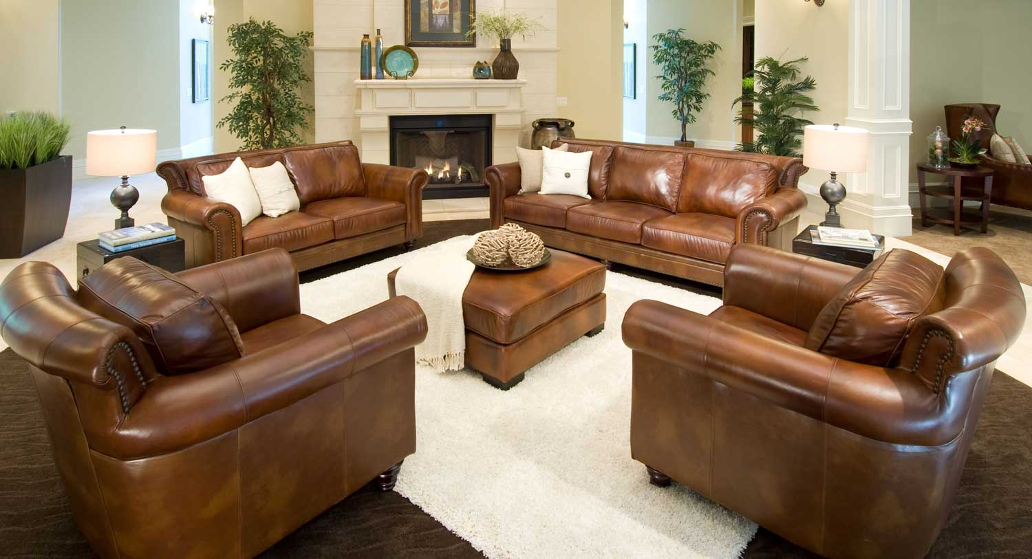 Elements Fine Home Furnishings Paladia 5 Piece Top Grain Leather Collection Rustic