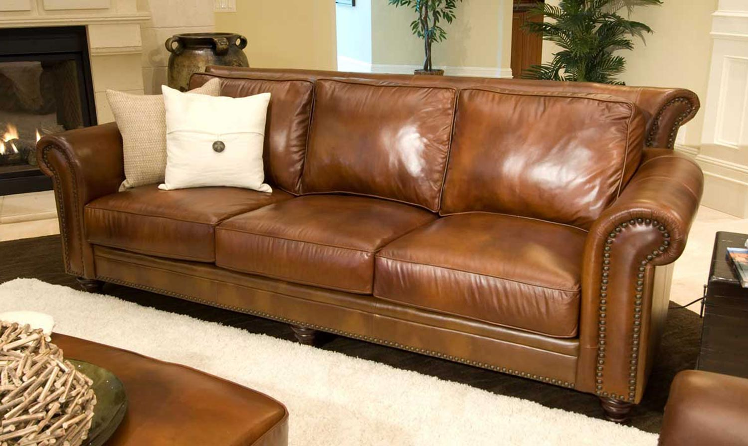 ELEMENTS Fine Home Furnishings Paladia Top Grain Leather Sofa   Rustic