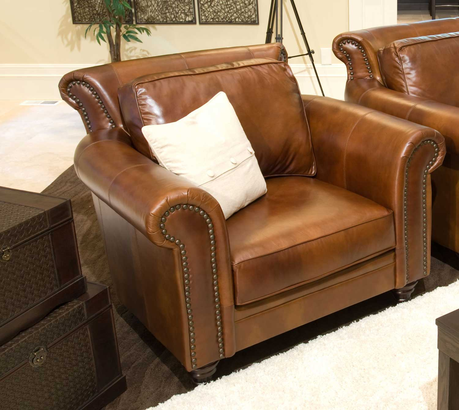 ELEMENTS Fine Home Furnishings Paladia Top Grain Leather Accent Chair - Rustic