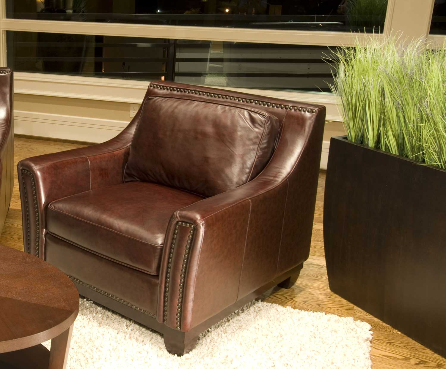 ELEMENTS Fine Home Furnishings Serafina Top Grain Leather Accent Chair - Clove