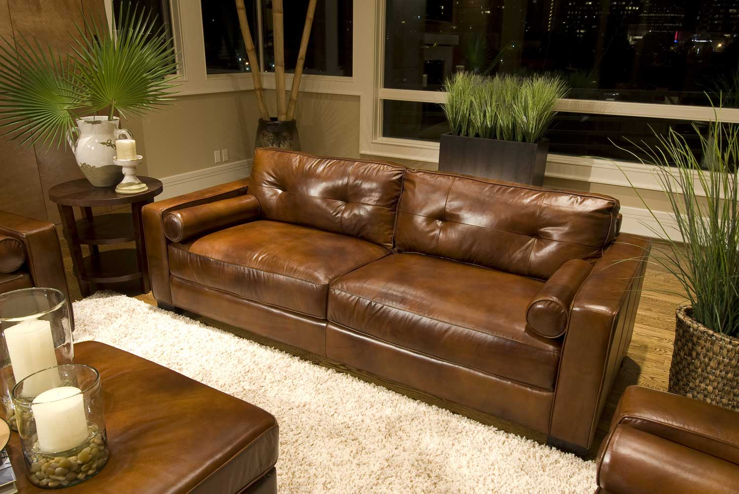 Elements Fine Home Furnishings Soho Top Grain Leather Sofa Rustic