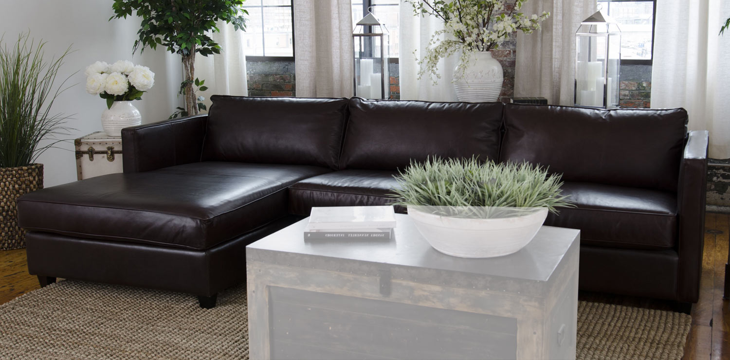 Elements Fine Home Furnishings Urban Top Grain Leather Sectional Sofa Cappuccino Urb Sec Rafl