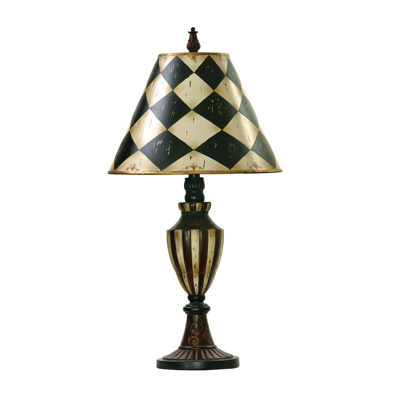 Elk Lighting 91-342 Harlequin and Stripe Urn Table Lamp - Black / Antique White