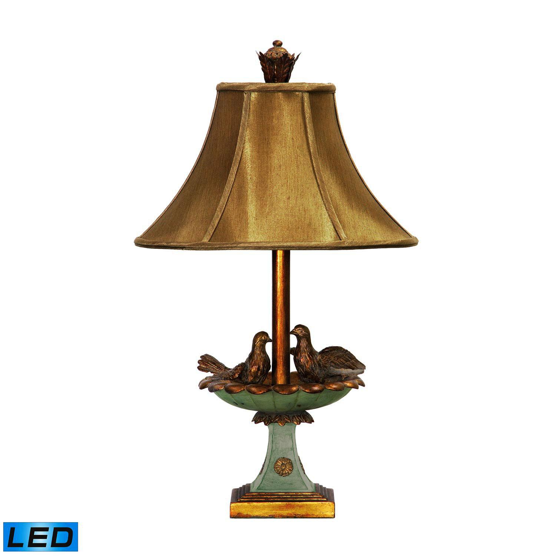 Elk Lighting 91-786-LED Love Birds In Bath Table Lamp - Gold Leaf / Grantsmoth Green