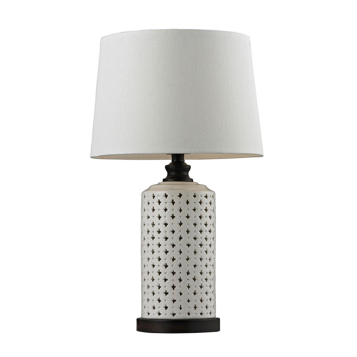 Elk Lighting D128 Table Lamp - Cream Glazeand Dark Brown Paint