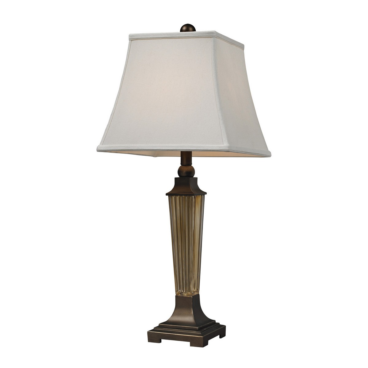 Elk Lighting D133 Table Lamp - Amber Smoked Glass/Bronze Base and Cap
