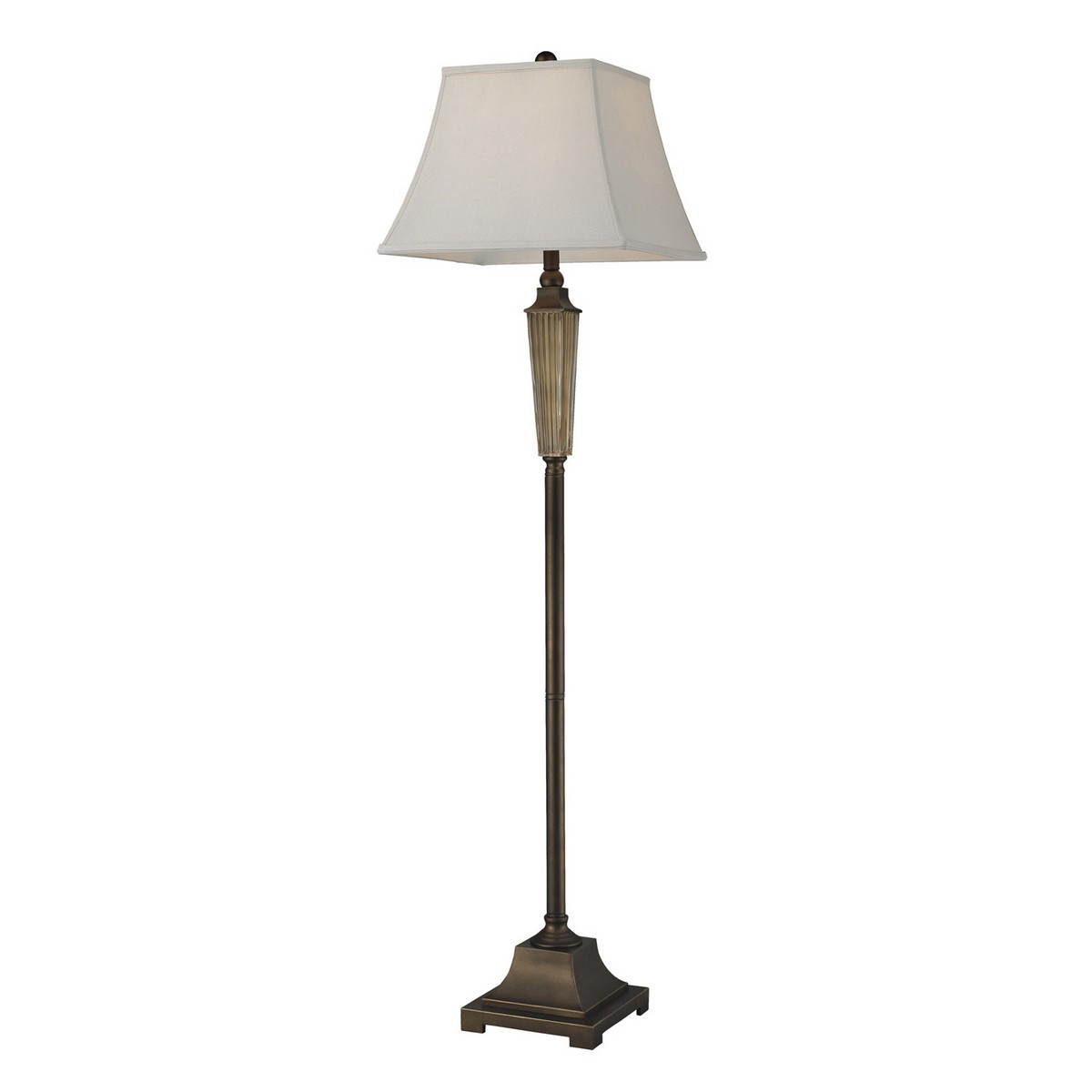 Elk Lighting D134 Floor Lamp - Amber Smoked Glass/Bronze Base and Cap