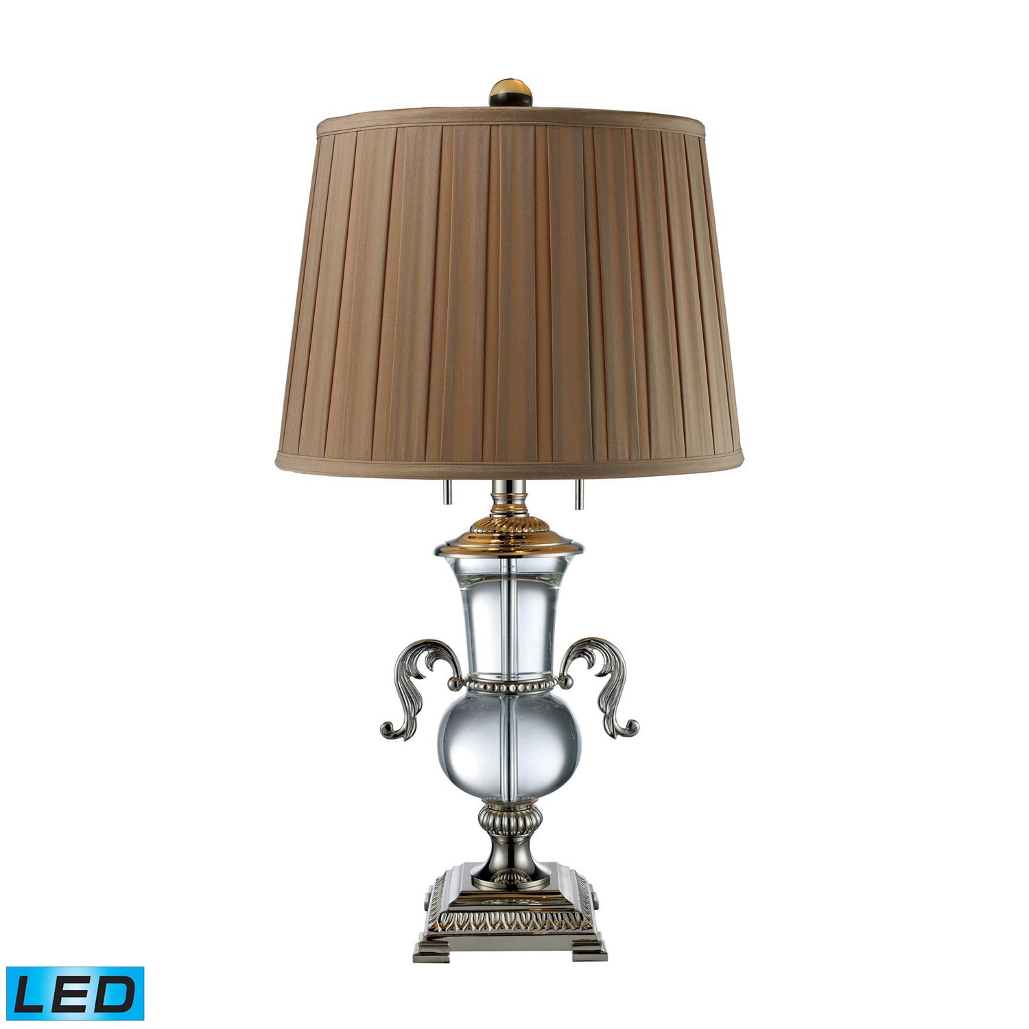 Elk Lighting D1810-LED Raven Table Lamp - Clear Crystal and Polished Nickel