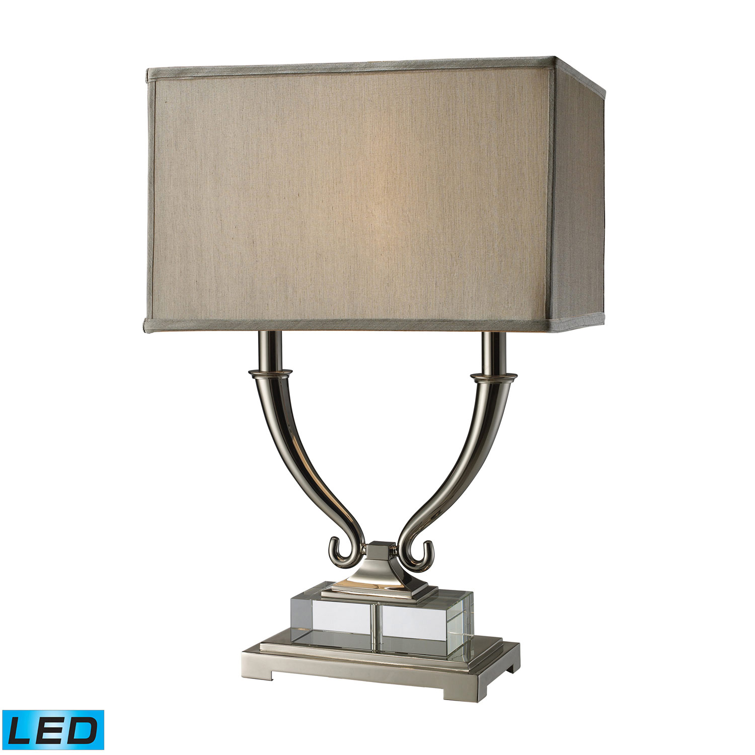 Elk Lighting D1873-LED Roberts Table Lamp - Polished Nickel and Clear Crystal