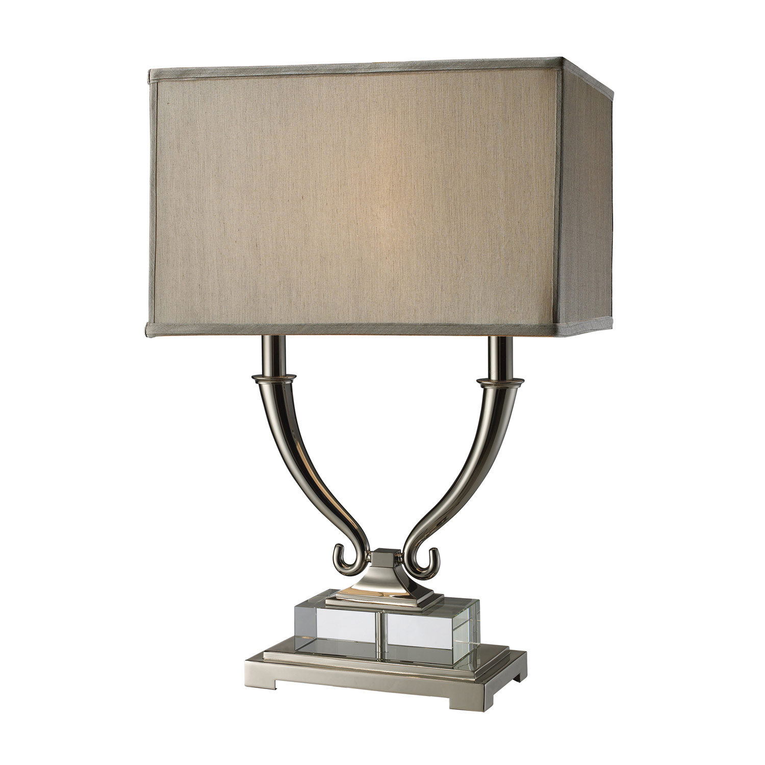Elk Lighting D1873 Roberts Table Lamp - Polished Nickel and Clear Crystal