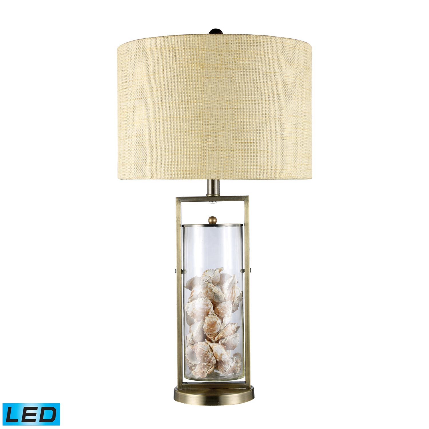 Elk Lighting D1978-LED Millisle Table Lamp - Antique Brass and Clear Glass
