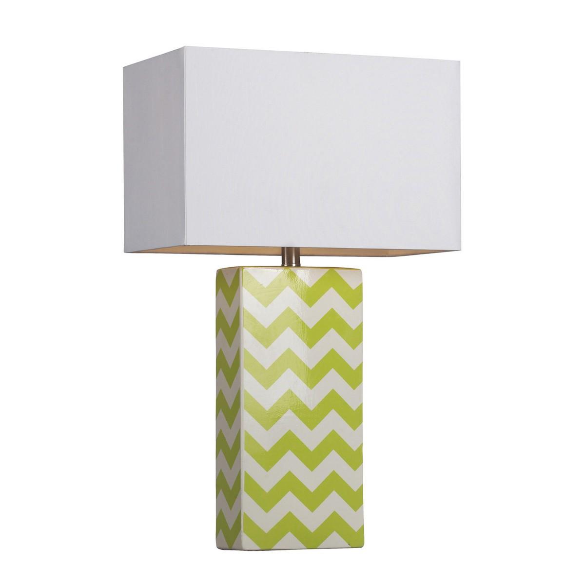 Elk Lighting D278 Table Lamp - Citrus Green/White Chevron