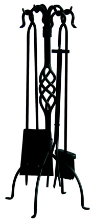 UniFlame 5 Pc Black Wrought Iron Fireset With Center Weave-Uniflame
