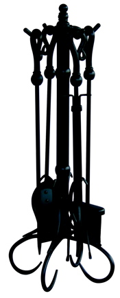UniFlame 5 Pc Black Fireset With Heavy Crook Handles-Uniflame