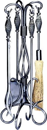 UniFlame 5 Pc Pewter W.i. Fireset W/ Birdcage Handle-Uniflame