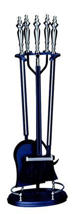 UniFlame 5 Pc Brushed Nickel & Black Fireset W/ Double Rods-Uniflame