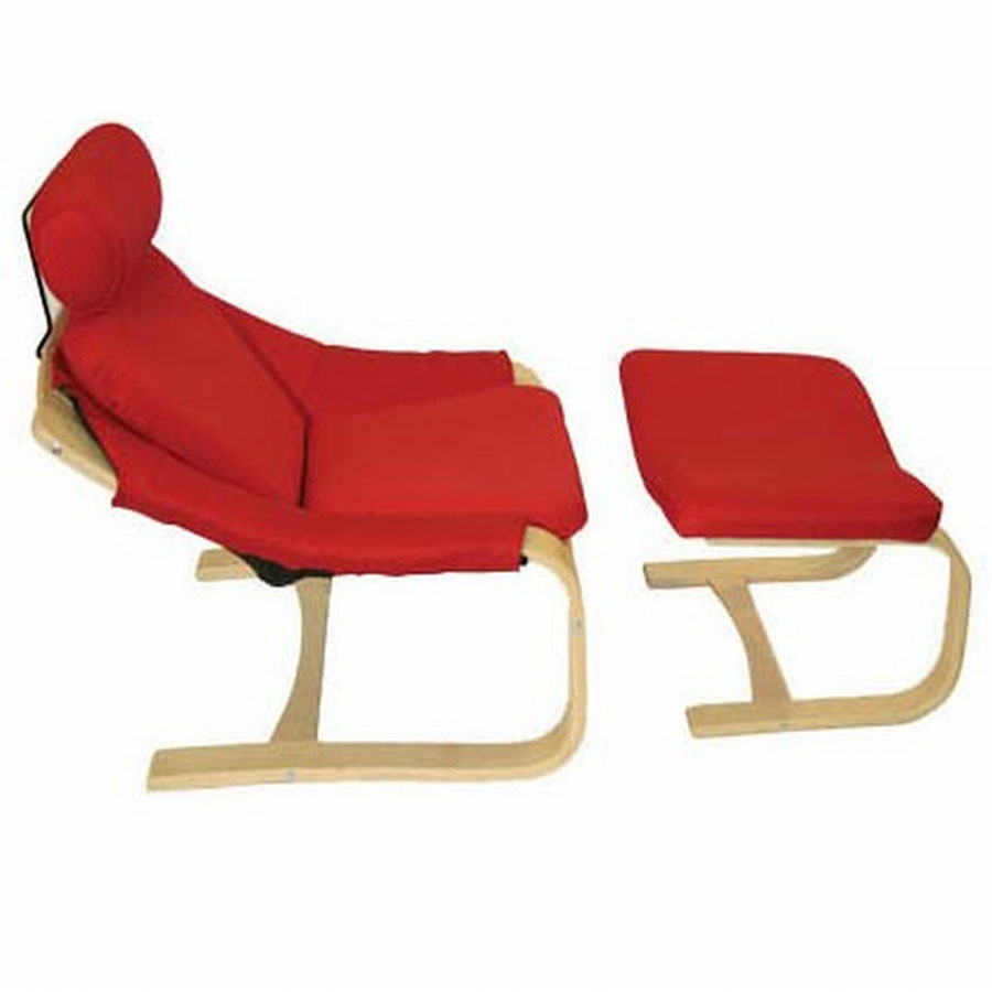 FY Lifestyle Bentwood Gamer Chair And Stool Set - Red